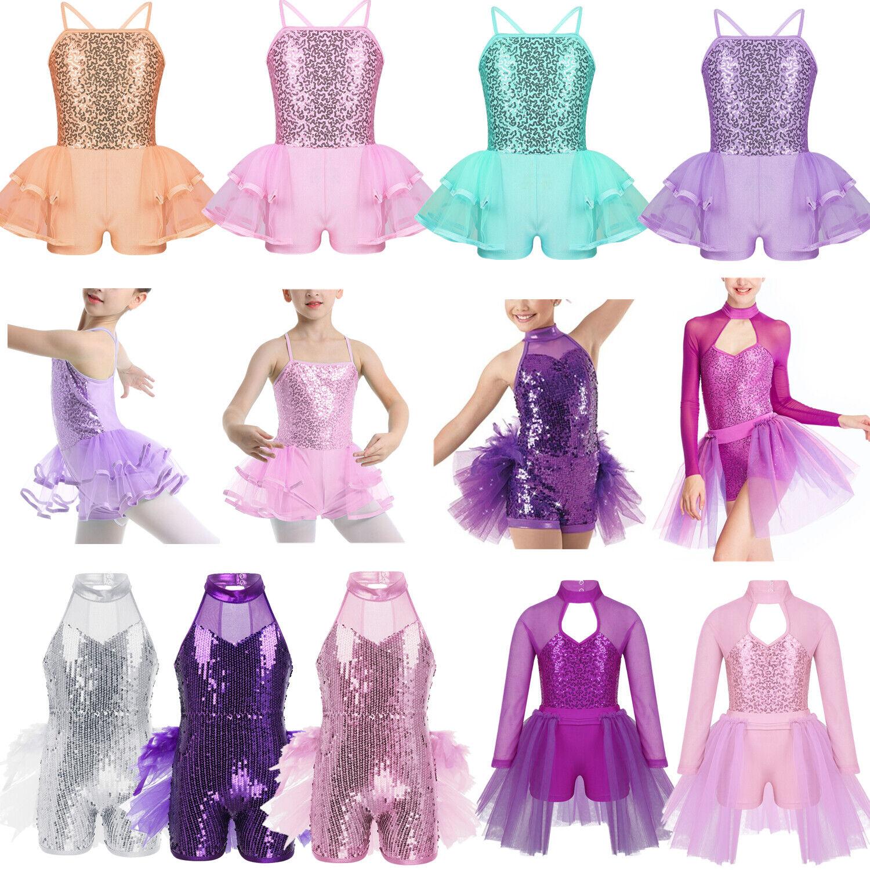 Girls Shiny Sequins Modern Jazz Dance Dress Kids Latin Street Dancewear Costume