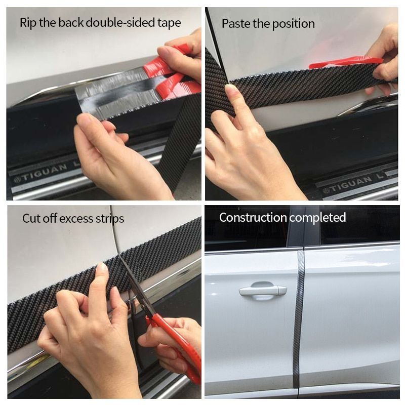 5*100cm Carbon Fiber Car Scuff Plate Door Sill Cover Panel Step Protector Strip