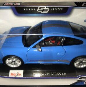 Maisto-1-18-Porsche-911-Edicion-Especial-Azul-Nuevo-en-Caja