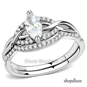 WOMEN-039-S-MARQUISE-CUT-CZ-STAINLESS-STEEL-ENGAGEMENT-amp-WEDDING-RING-SET-SIZE-5-10