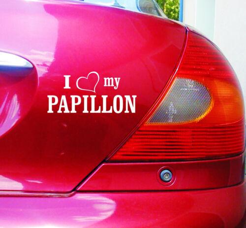Herz my PAPILLON cartattoo4you AI-01939 I LOVE Auto Aufkleber Hunde Dog