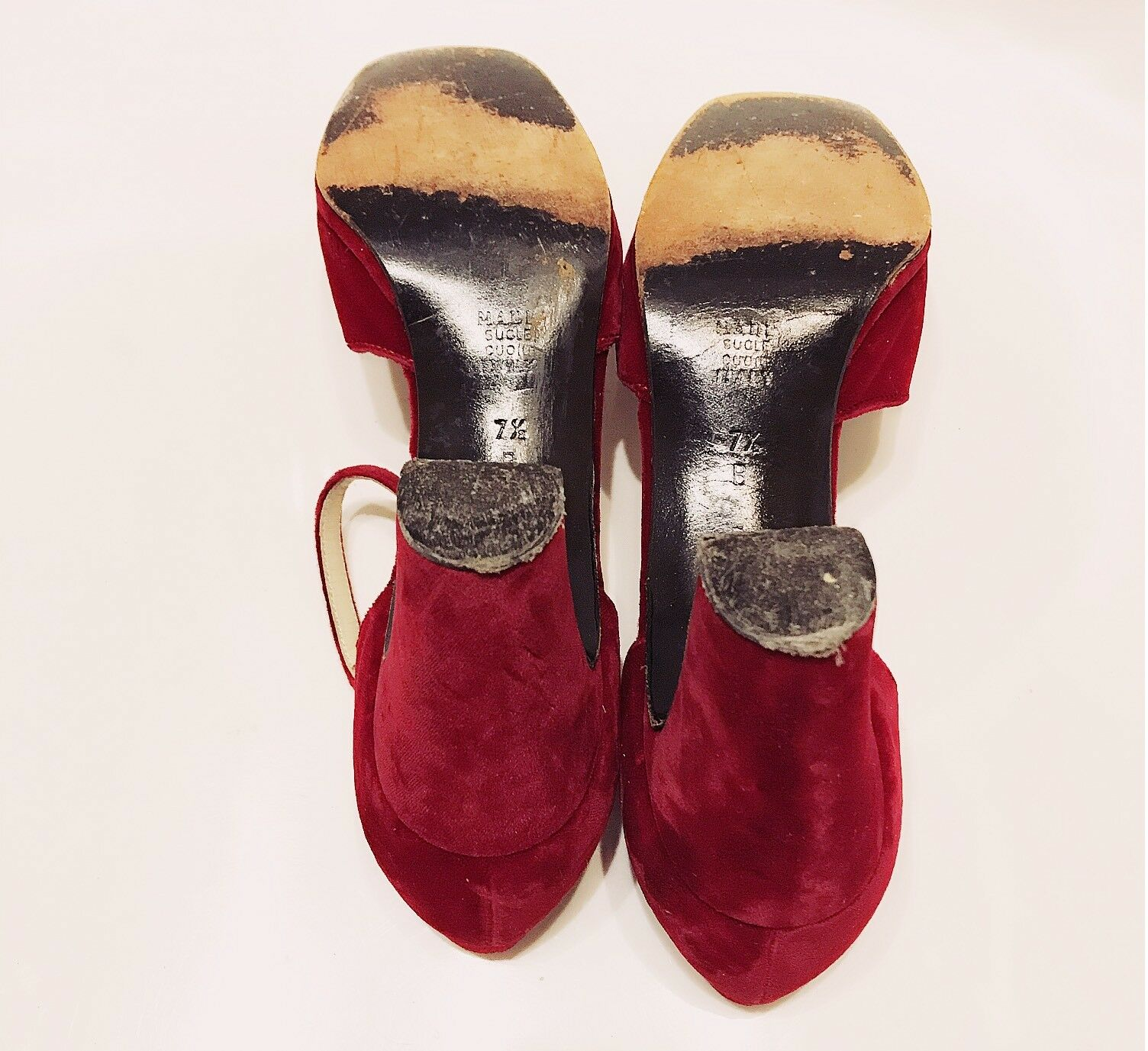 GIVENCHY - Jewel Rhinestone Buckle ROT Velvet Ankle 7.5 Strap High Heel Pumps 7.5 Ankle B 437056