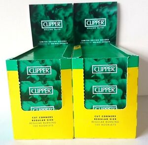 CLIPPER-Rolling-Papers-2x-Display-Box-Green-Regular-Smoking-BARGAIN-200-PACK