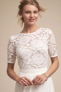 45984bd785a NEW BHLDN White Lace Jive Top Size Small - Wedding Topper