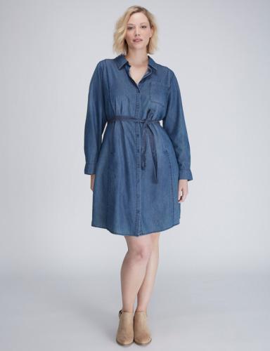 Lane Bryant Button Front Chambray Cotton Denim Shirt Dress Plus ...