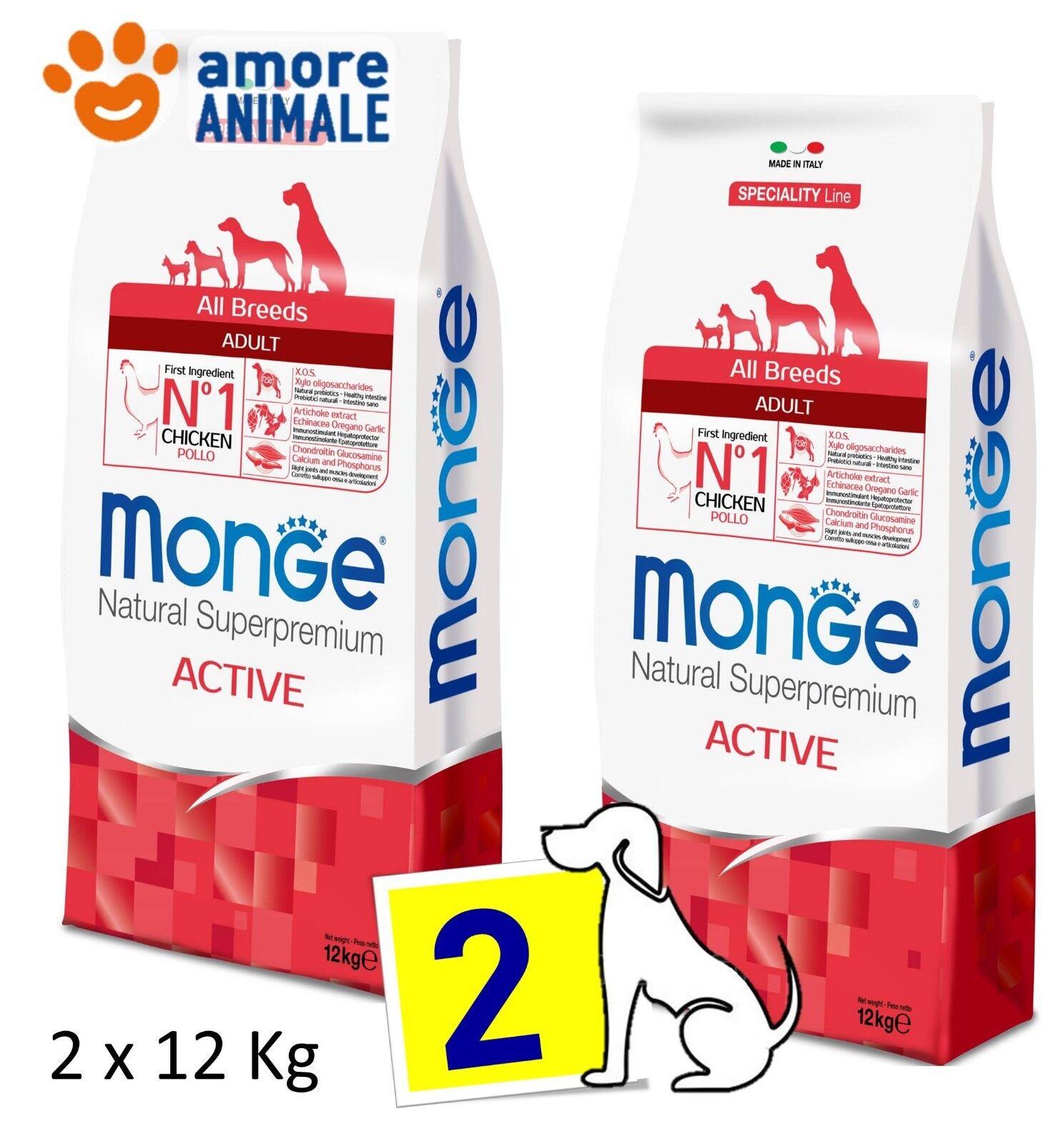 2 SAC   Monge Superpremium All Breeds Adult Active con Pollo 12 kg  Per cani
