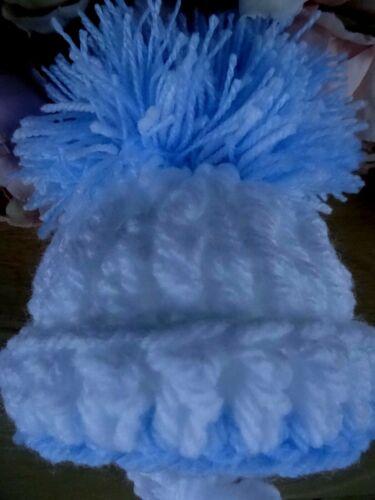 Baby Boy Girl White Blue Grey Hand Knitted Crochet Pom-Pom Hat Premature-NB-0-3m
