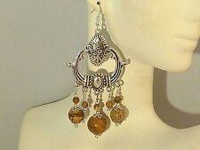 Gemstone Earrings - Picture Jasper & 925 Sterling Silver - long chandeliers