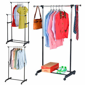rollen kleiderst nder kleiderstange mobiler garderobenst nder rollgardrobe ebay. Black Bedroom Furniture Sets. Home Design Ideas