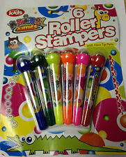 PACK OF 6 ROLLER STAMPERS WITH FIBRE TIP PENS KIDS CHILD CREATIVE FUN ART CRAFT