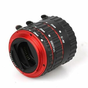 Colorful Metal TTL Auto Focus AF Macro Extension Tube Ring For Canon  EOS EF Red