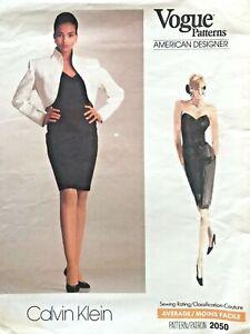 1980-039-s-VTG-VOGUE-Misses-039-Jacket-amp-Dress-Calvin-Klein-Pattern-2050-Size-6-10-UNC