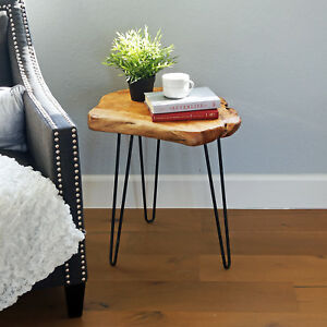 "Tall Cedar Table Wood Root Live 20/"" Edge End Hairpin Leg Side Table WELLAND"