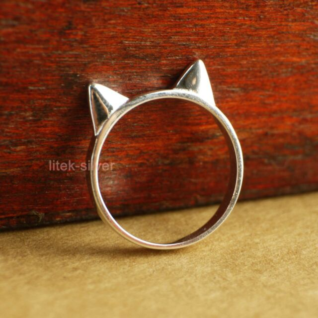 Sterling Silver Cute Lovely Cat Ear Animal Knuckle Midi Mid Finger Ring A3271
