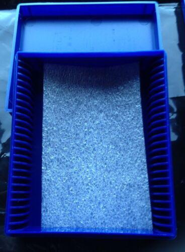 10 X Estuche de Almacenamiento de diapositivas Microscopio de servicio pesado caja capacidad 25 Azul