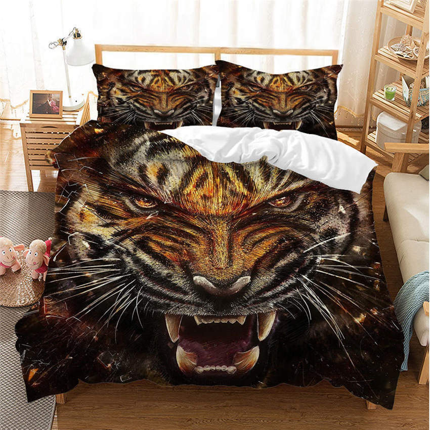 King Of Forest 3D Quilt Duvet Doona Cover Set Single Double Queen King Print