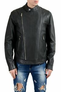 Versace-Collection-Men-039-s-100-Leather-Gray-Double-Breasted-Jacket