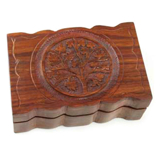 """NEW Wavy Tree of Life Carved Wood Box 4x6/"""" Wooden Mini Chest"""