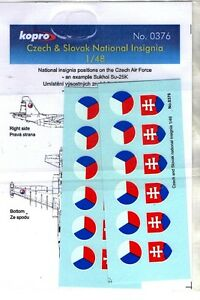 NUOVO KOPRO DECALS 0376-1//48 CZECH /& SLOVAK NATIONAL INSIGNIA