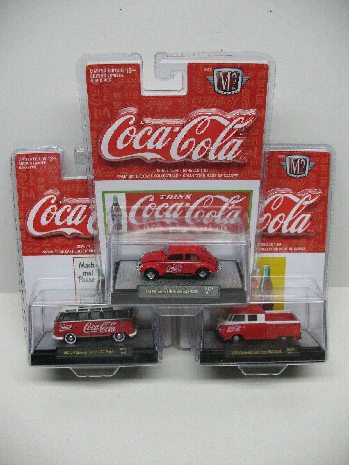 Lote de 3 máquinas M2 edición LIMITADA VOLKSWAGEN BEETLE europeo s Coca Cola Bus
