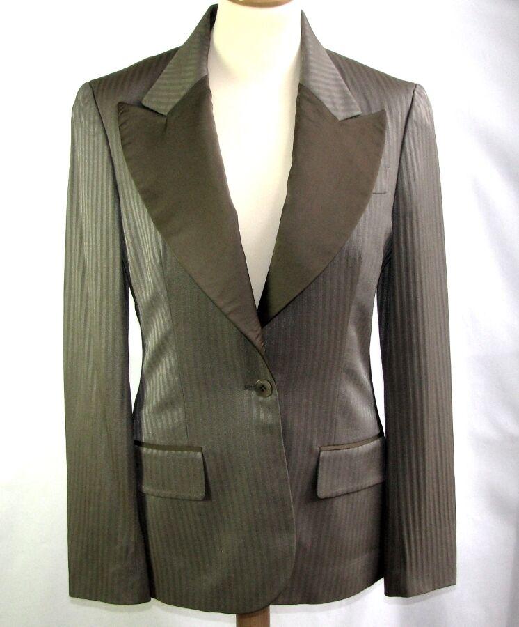 STELLA McCARTNEY - VESTE COSTUME BLAZER LAINE SOIE brown T 38 - COMME NEUVE