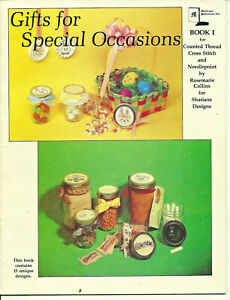 Gifts-for-Special-Occasions-Cross-Stitch-Needlepoint-Pattern-Leaflet-Jar-lids