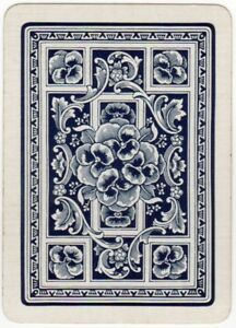 Playing-Cards-1-Swap-Card-Old-Antique-English-Wide-PANSY-FLOWERS-Pansies-blue