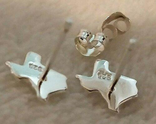 Texas Shape Solid Sterling Silver 925 Stud Earrings