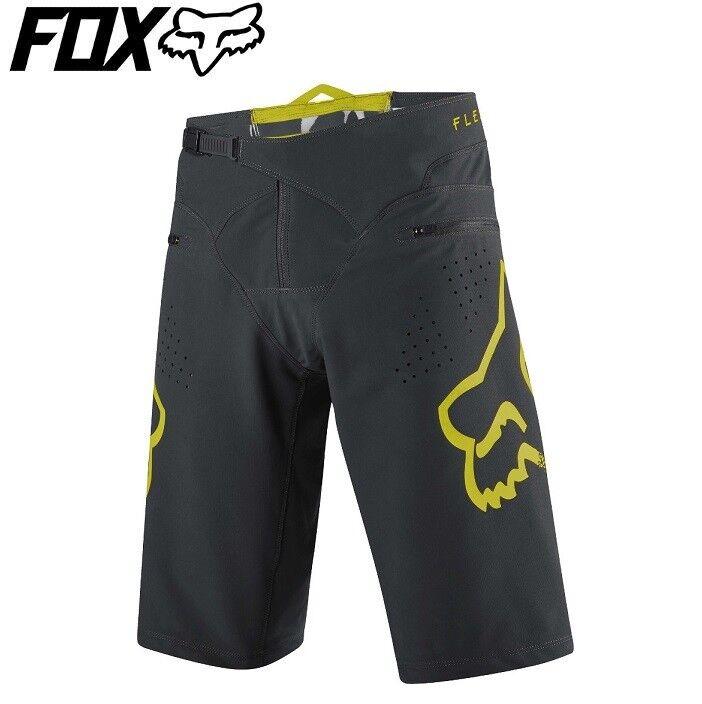 Pantalones Cortos  Fox Flexair MTB 2018-gris Negro Amarillo-Tallas 32, 34, 36  ventas en linea