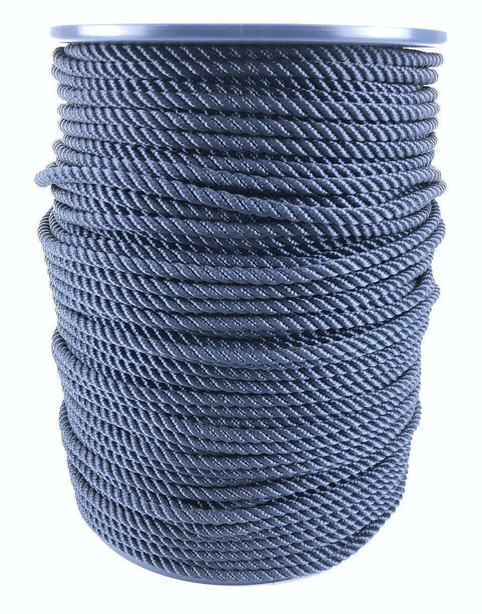 6mm Navy bluee 3 Strand Polyester Rope x 50 Metre Reel, Boats Yachts Sailing