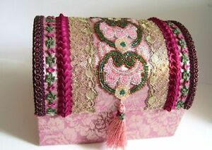 Beautiful Treasure< Keepsake Box~ Antique Metal Lace Trim,beads Decorated Fabric Ribbons Other Antique Decorative Arts Antiques