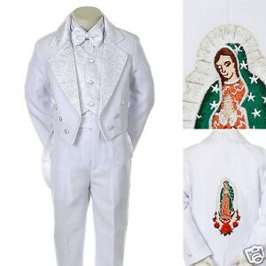 NEW White Boy Christening Baptism Communion formal Tuxedo Suit size: 8 10 12 14