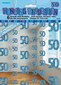Image Is Loading 50th Birthday Party 6 Blue Hanging String Door