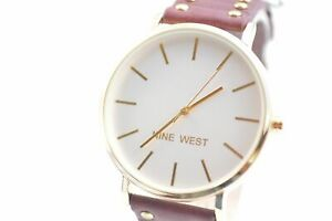 Nine-West-NW2056SVBY-White-Dial-Burgandy-Leather-Studded-Strap-Ladies-Watch