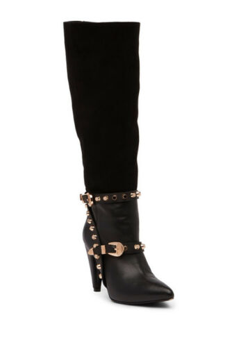Ivy Kirzhner Parachute Black Leather Suede Pointed Toe Knee High Studded Boot by Ivy Kirzhner