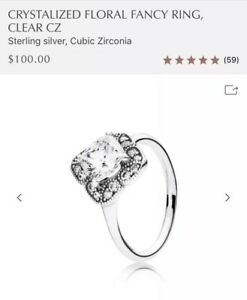 9436f2ca9c535 Details about PANDORA Crystallized Floral Fancy Ring #190966CZ + Pouch -  Sizes 6, 7, 7.5, 8.5