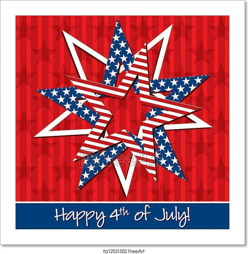 Happy 4th July  Art Print Home Decor Wall Art Poster