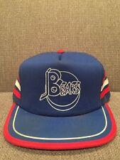 Vintage Bears Hockey Mesh Back Trucker Hat Retro Blue Red White Snapback
