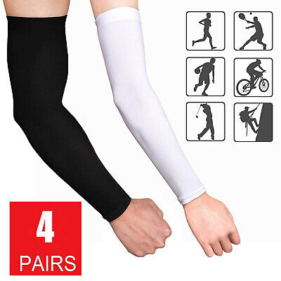 1 Size Fits All 1 Pair Arm Sleeves UV Sun Protection Cooling Sleeves for Cycling Football Running Basketball Other outdoor Sports White