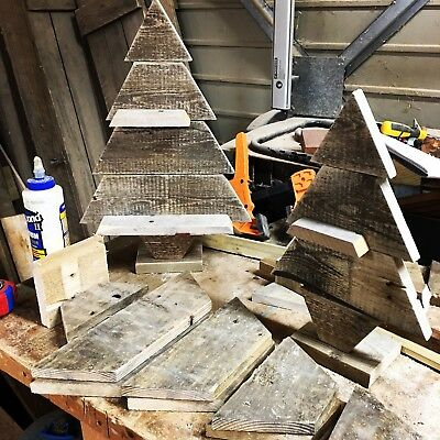 Pallet Wood Christmas Tree.Set Of Two Handmade Reclaimed Pallet Wood Wooden Christmas Trees Ebay