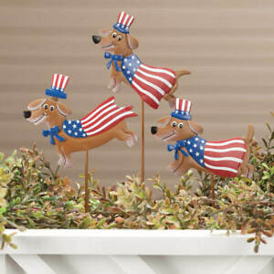 Set-of-3-USA-Metal-Patriotic-Puppy-Dog-4th-of-July-Planter-Garden-Stakes