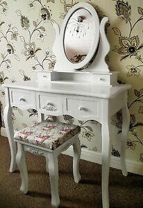 NEW-LARGE-5-DRAWER-WHITE-FRENCH-CHIC-STYLE-DRESSING-TABLE-MIRROR-amp-STOOL-SET