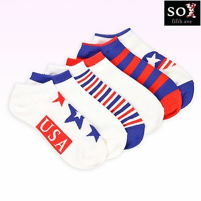 American Flag Women's No Show Socks - I Love USA 6-Pack, NWT