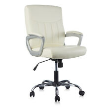 Clatina White Leather Office Executive Chair Lumbar Support Padded Armrest Desk