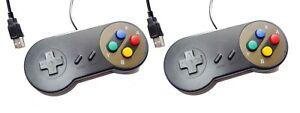 2-x-PC-USB-SNES-Classic-Dogbone-Style-Black-Retro-Control-Joy-Pad-Controller-UK