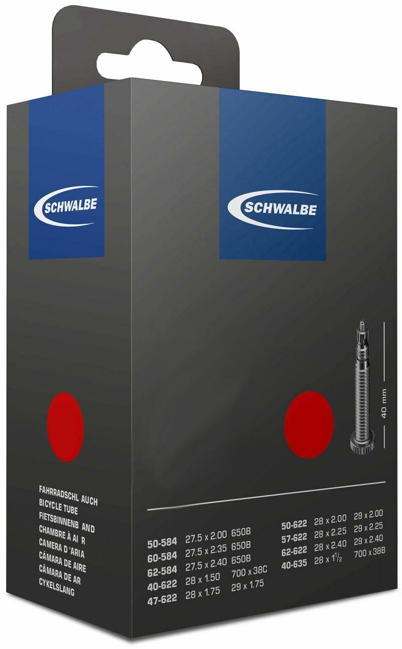 """27.5/"""" Bike Inner Tube Schwalbe SV21F 27.5x2.1-3.0/"""" 40mm Presta Black"""