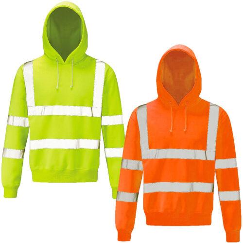 Mens Hi Vis Visibility Pull Over Hoody High Viz Hooded Jumper Top Size