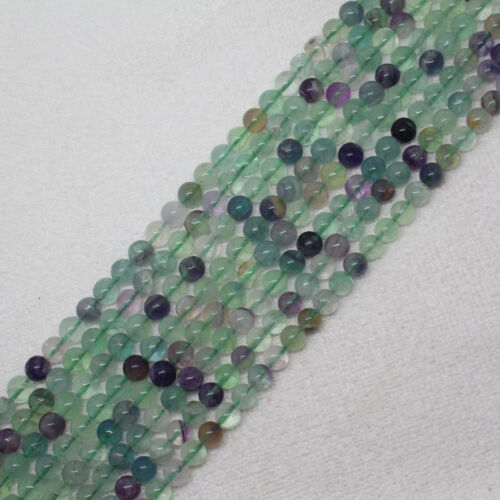"""6-14mm Natural Multicolor Fluorite Round Loose Beads 15/"""""""