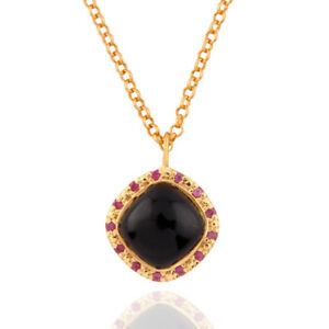 Real-Ruby-And-Black-Onyx-Gemstone-925-SIlver-Pendant-Top-Fashion-Jewelry