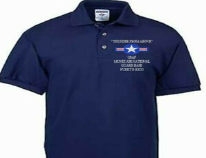 MUNIZ AIR NATIONAL GUARD BASE PR USAF EMBROIDERED POLO SHIRT/SWEAT/JACKET.